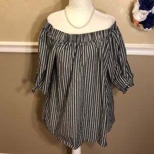 Cha Cha Vente striped off shoulder tie sleeve top
